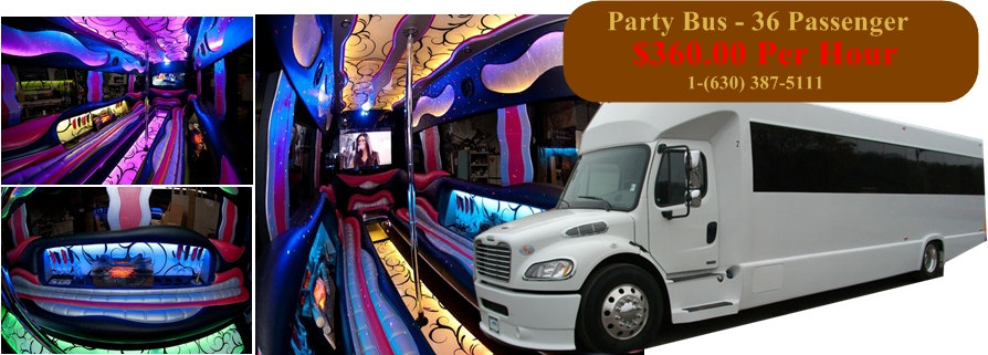 40 Passenger Party Bus -  stripper pole
